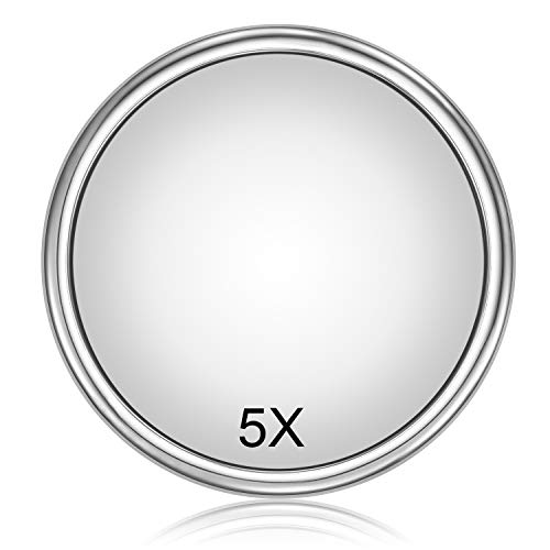 OMIRO Shower Mirror, 9 Inch 5X Magnifying 4 Suction Cups Stainless Steel Makeup Mirror, Chrome Finish