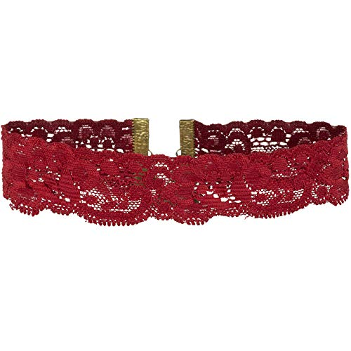 ral Elastic Stretch Lace Choker Necklace (Red, Medium) ()