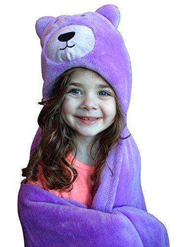 Soft Boy or Girl Baby Blanket. Plush Microfiber Fleece in Animal Design. Fab Shower Gift! Great Toddler Blankie, Binky, Cozy or Warm Fuzzy Stroller Blanket or Infant Wrap. 30x36 + Hood by bozemanbabycompany