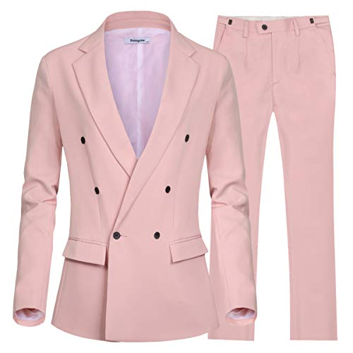 Women's 2 Pieces Casual Daily Blazer Double Breasted Regular Fited Jacket Pants (Pink, 14W)