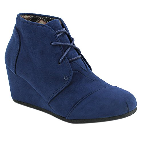 Round Suede Heels Up Toe Ankle Wedge Booties Boots Women's Lace Navy Bqd7BH