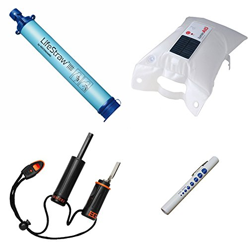 Price comparison product image LifeStraw Personal Water Filter - 4-pc Survival Bundle w/ Luminaid Packlite 16 Inflatable Solar Lantern + Gerber Bear Grylls Fire Starter + Pen Light