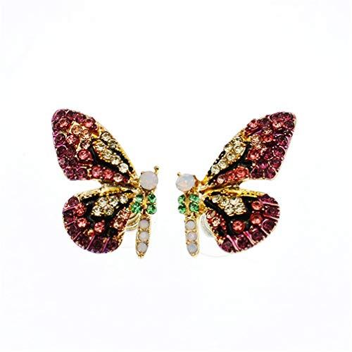 MOONQING Sparkling Cubic Zirconia Butterfly Earring Colorful Rhinestone Animal Earrings Faux Opal Crystal Ear Stud,Purple