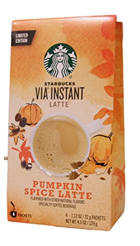 Starbucks, Via Instant Coffee, Pumpkin Spice Latte 4 Packets, 4.5 oz (Pack of 2)