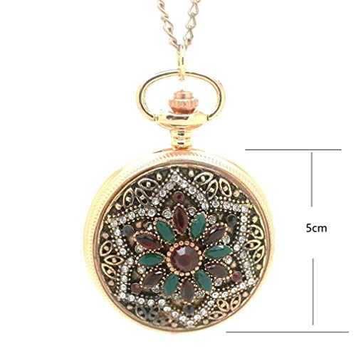 jklek Gold Royal Palace Bohemian Love Heart Red Pocket Watches Sweater Vintage Turkish Pocket Watch Pendant Necklace Green