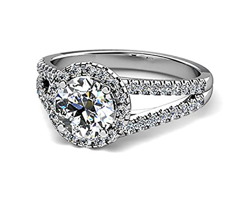 NSCD by Port City Jewelers 14k White Gold Round Halo Vintage Simulated Diamond Engagement Ring (2 Carat, D Color, VVS1 Clarity)