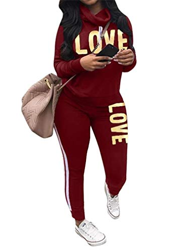 Women's 2 Piece Outfits Jogging Suits Letter Printed Pullover Sweatshirt Skinny Long Pants Tracksuits Set Activewear Wine