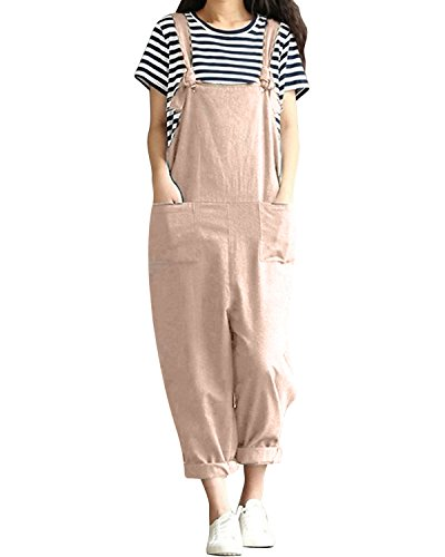 LVCBL Women Vintage Overall Sleeveless Loose Baggy Playsuit Jumpsuit Dungarees Light Khaki (Cotton Linen Khakis)