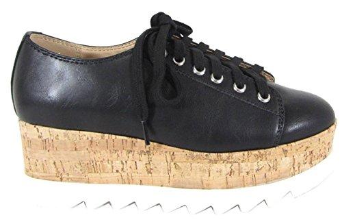 Sole Shoe Cork Oxford Platform Black Soda Pu Women's Up Wedge cork Lace REqq8wTx