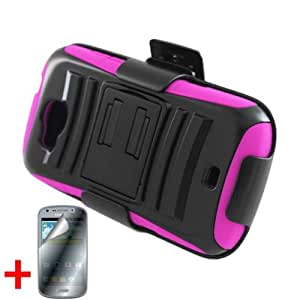 SAMSUNG GALAXY AXIOM R830 ADMIRE 2 BLACK HOT PINK HYBRID KICKSTAND COVER BELT CLIP HOLSTER CASE + FREE SCREEN PROTECTOR from [ACCESSORY ARENA]