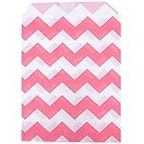 Dress My Cupcake 24-Pack Party Favor Bags, Chevron, Bubblegum Pink