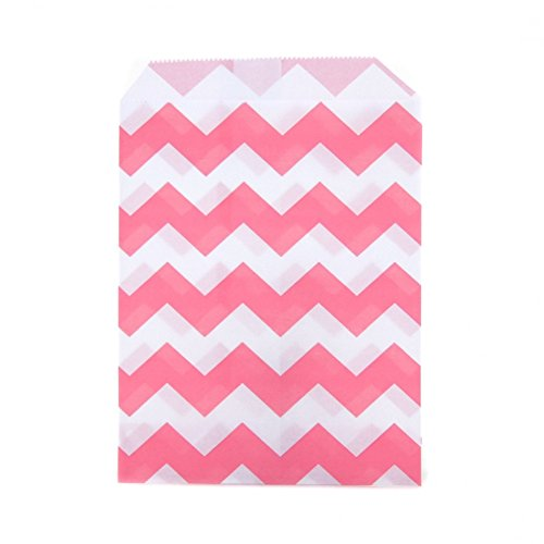 Dress My Cupcake 24-Pack Party Favor Bags, Chevron, Bubblegum Pink ()