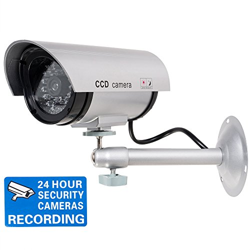 (WALI Bullet Dummy Fake Surveillance Security CCTV Dome Camera Indoor Outdoor with One LED Light, Warning Security Alert Sticker Decals (TC-S1), Silver)