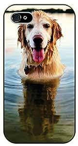 iPhone 4S Swimming dog, lake - black plastic case / dog, animals, dogs