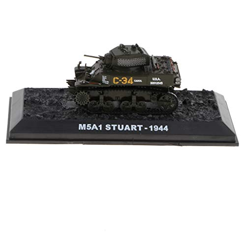 American Army Vehicles - Flameer 1:72 Army Vehicles WWII American M5A1 Stuart Tank Deicast Model Playset Collectibles