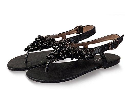 Avec Femme Y De Rhinestone Chaussures Noir Boho Plat Boucle Strap Sandales Plage qwaqFz7r
