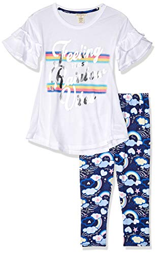 One Step Up Girls' Big 2 Pc Knit Top and Legging Set, Rainbow White, 7/8
