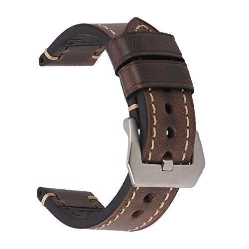 - EACHE Brown Leather Watch Bands for Men, Oil Waxed Thick Leather Watch Straps 20mm Oil Dark Brown with Silver Buckle