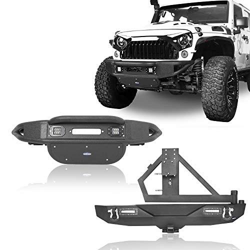 u-Box 2007-2018 Jeep Wrangler JK Bumpers Combo,Tubular Front Bumper & Different Trail Rear Bumper w/Tire Carrier & Hitch Receiver