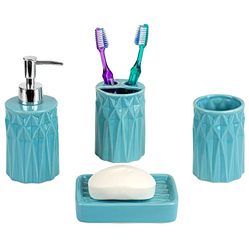Home Basics Gift & Decorat Beautiful Prism 4 Pcs Ceramic Durable Bath Accessory Set-Decorative Lotion Dispenser/Dish/Tumbler/Toothbrush Holder-Perfect Gift & Decorating Idea (Turquoise)