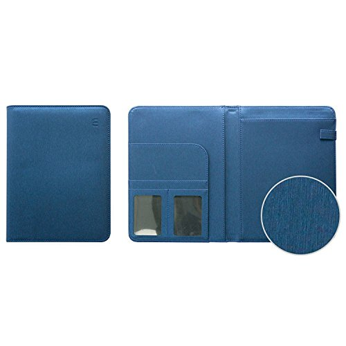 """Professional PU Leather Padfolio, A5 Size Writing Portfolio Includes Writing Pad, Pen Loop, Card & ID Slots, and Extra Pocket, Pad Holder, 6.4""""X8.6"""" (Blue) by b_odd supplies"""
