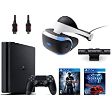 PlayStation VR Bundle 4 Items:VR Headset,Playstation Camera,PlayStation 4 Slim 500GB Console - Uncharted 4,VR Game Disc PSVR Battlezone