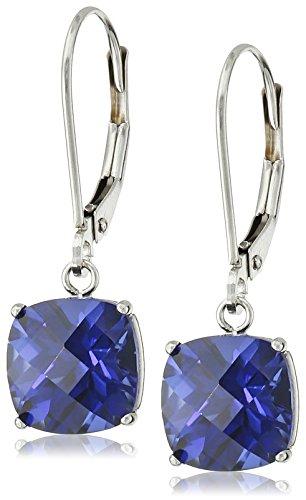10k White Gold Cushion Checkerboard Cut  Created Sapphire Leverback Earrings (8mm) (Sapphire Earrings Cut Dangling)
