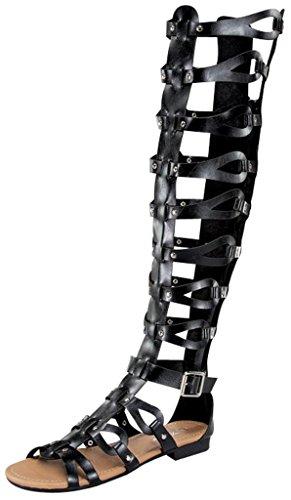 Atta 17 Womens Knee High Caged Gladiator Strappy Flat Sandals Black 9