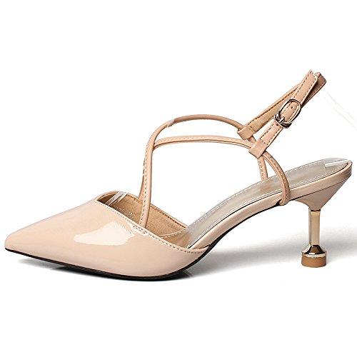 YMFIE Moda Temperamento Sandalias Cruzadas de la Correa de Primavera y Estilete de Verano Acentuado Sexy con un Solo Zapatos de Tacones Altos de Las señoras A