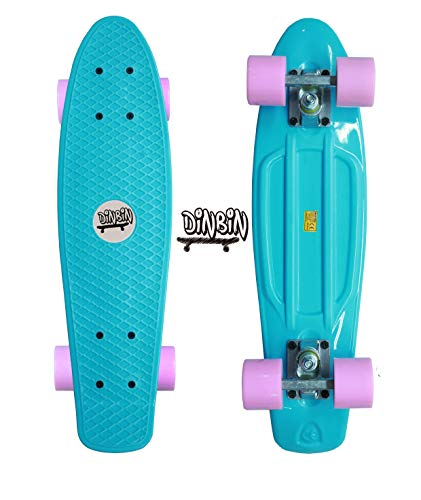 DINBIN Complete Highly Flexible Plastic Cruiser Board Mini 22 Inch Skateboards for Beginners or Professional with High Rebound PU Wheels (220 Pounds) -