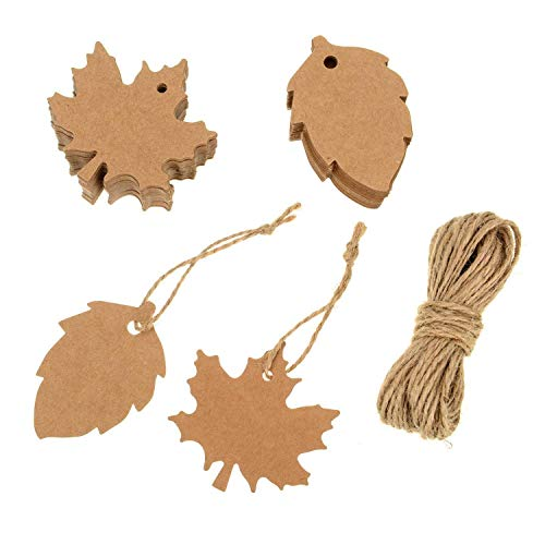 Leaf Gift Tags - BESTCHANCEUS 200 Pieces Kraft Paper Maple and Leaf Gift Hanging Label with Twine 20M for Christmas Thanksgiving Wedding Halloween DIY Gift -