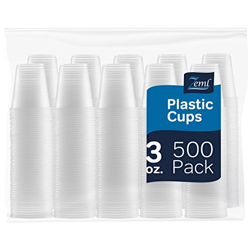 [500 Pack] 3 oz. Disposable Clear Plastic (Clear Cup)