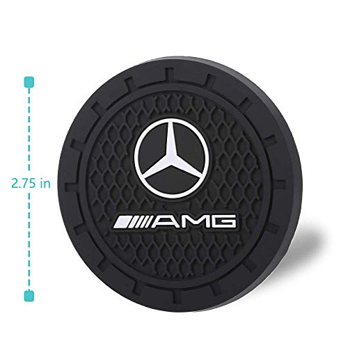 Benz Auto sport 2.75 Inch Diameter Oval Tough Car Logo Vehicle Travel Auto Cup Holder Insert Coaster Can 2 Pcs Pack