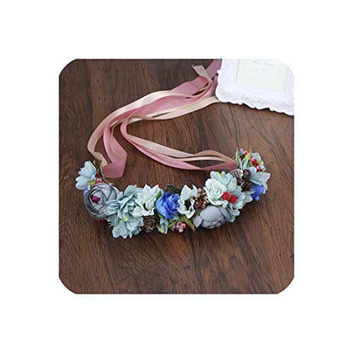 Summer Wedding Floral Crown Head Band Kids Party Wreath Floral Garlands Ribbon Adjustable Flower Crown Rose for Women,4 (Wreaths Kohls)