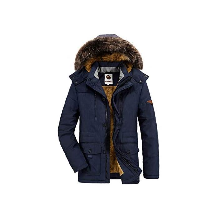 416uC7PLRAL Esta chaqueta cálida está hecha de tela suave y tiene puños acanalados para un ajuste cómodo alrededor de la muñeca, contra el viento frío. Chaqueta parka con capucha hombre,Forro de lana y capucha desmontable. Material: 95% Poliéster + 5% Nylon