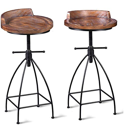 Diwhy Industrial Vintage Rustic Bar Stool,Wooden Top Stool Kitche...