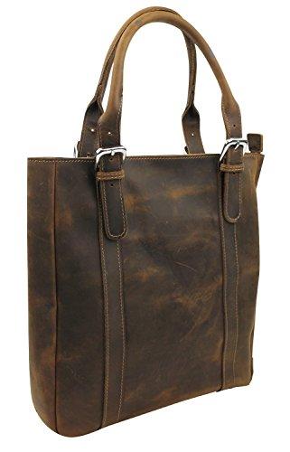 "13.5"" Cowhide Leather Satchel Handbag L81. Vintage Brown"