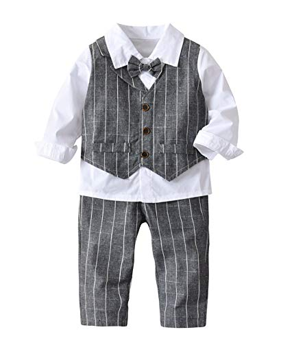 4Pcs Tollder Baby Boys Gentleman Set Stripe Vest Shirt Bowtie Clothes Formal Suit by Pinleck
