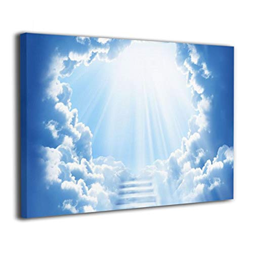 SRuhqu Canvas Wall Art Prints Heaven Stairway -Photo Paintings Contemporary Decorative Giclee Artwork Wall Decor-Wood Frame Ready to Hang