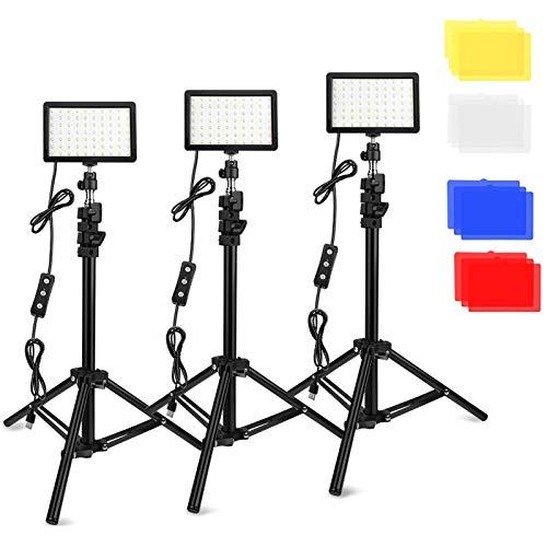 3 Packs 70 LED Video Light with Adjustable Tripod Stand/Color Filters, Obeamiu 5600K USB Studio Lighting Kit for Tablet…