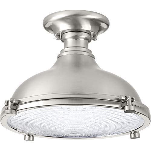 Progress Lighting P350033-009-30 Fresnel Lens One-Light LED Semi-Flush, Brushed Nickel Collection 1 Light Flush