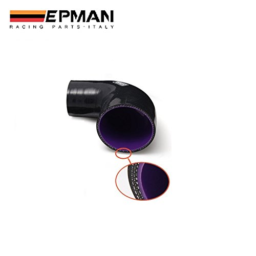EPMAN 2 To 2.25 51-57mm 90Degree 3-Ply Silicone 90 Degree Elbow Reducer Hose Black With Purple
