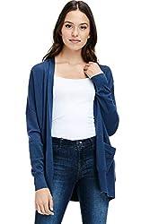 Alexander David Womens Loose Open Cardigan Sweater Dropped Sleeve Pocket Dust Teal Medium Large