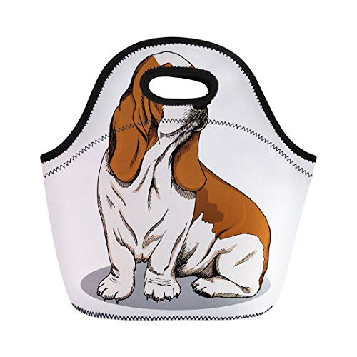 Semtomn Lunch Tote Bag Dog Basset Hound Color Sketch Animal Black Breed Cartoon Reusable Neoprene Insulated Thermal Outdoor Picnic Lunchbox for Men Women