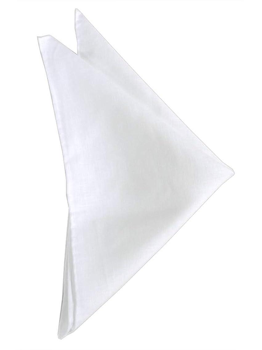 バスタブ出費転倒麻の ポケット チーフ アイルランド製 アイリッシュ リネン コットン チーフ (ホワイト) CF-444