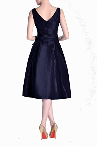 Pleated Tea Marineblau Taffeta Modest bridesmaids line Dress Bridesmaid Length A Formal neck V qgCYwwa