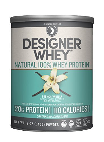 Designer Protein 100% Premium Natural Whey Protein Powder with Acti-Blend, French Vanilla, 12 Ounce Canister by Designer Protein