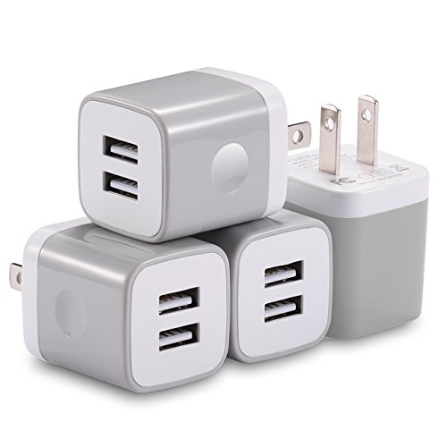 USB Wall Charger, X-EDITION 4-Pack 10.5W/2.1A Universal 2-Port USB Wall Plug Power Adapter for Phone X, 8/8 Plus 7/7 Plus, 6/6 Plus 6S, Pad, Samsung Galaxy S5 S6 S7 Edge, Nexus, LG (Gray) (Best Usb Wall Plug)