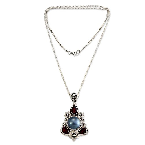 NOVICA Garnet Dyed Blue Cultured Mabe Pearl Sterling Silver Necklace, 18.0