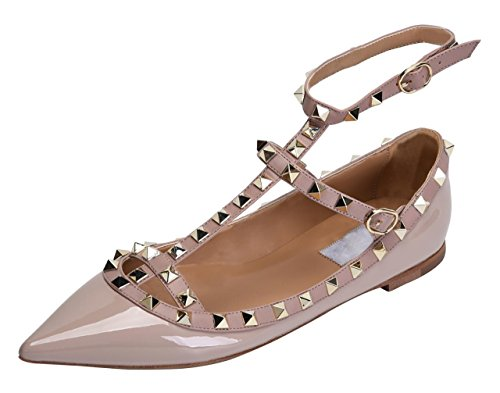 Strap Rivet - Jiu du Women's Sexy Ankle Strap Flats Shoe Pointed Toe Fashion Rivets Party Dress Shoes Apricot Patent PU Size US7 EU38